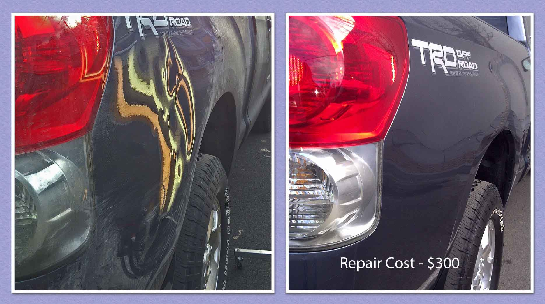 Tundra Paintless Dent Repair Goldendale before after text